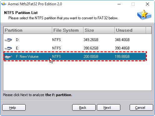 Choose NTFS Partition