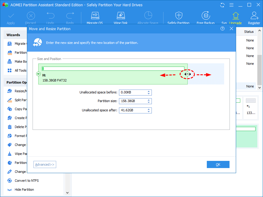 Adjust Partition Size