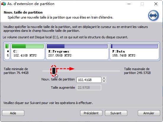 Spécifier la nouvelle taille de la partition