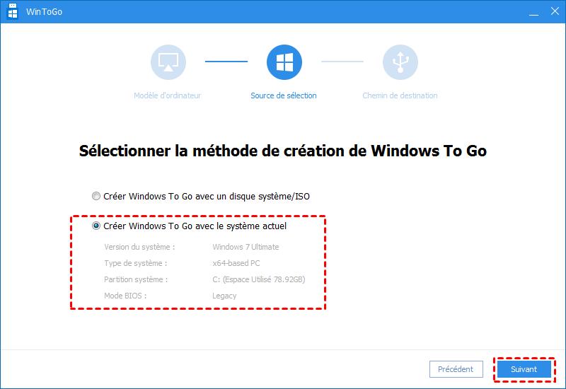 Créer Windows To Go avec le système actuel