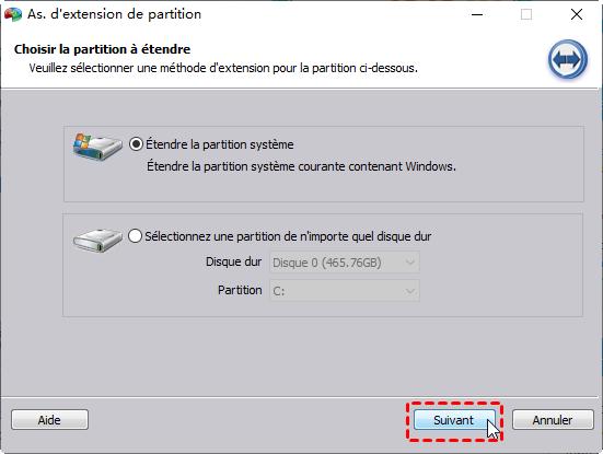 Etendre la partition système
