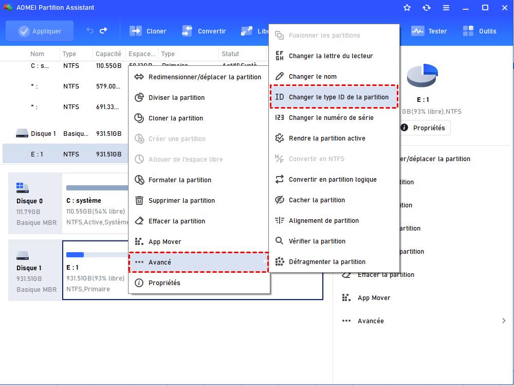 Changer le type ID de la partition