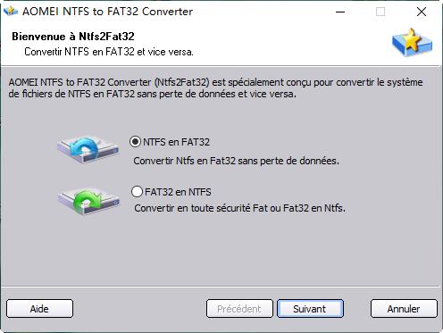 Convertir entre NTFS et FAT32