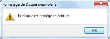 USB protégée en écriture