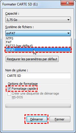 Formater carte SD