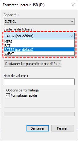 Formater SDXC en FAT32