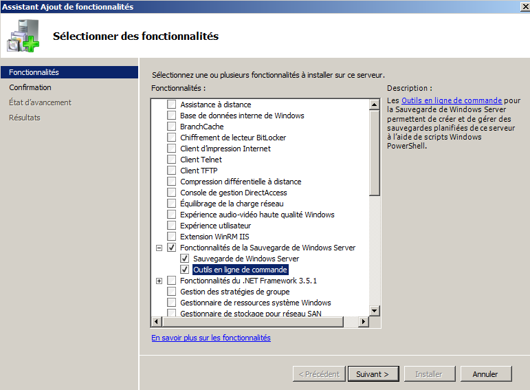 Ajouter la Sauvegarde de Windows Server