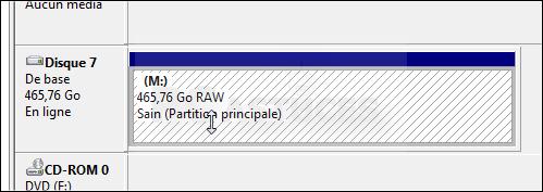 Le disque est RAW