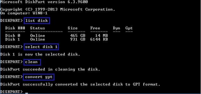 diskpartでgptディスクに変換