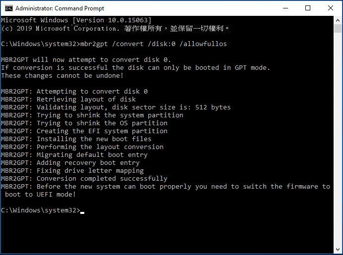 Mbr2gpt Convert Disk 0 Allowfullos
