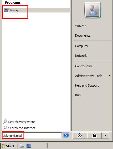 Disk management Windows Server 2008 2