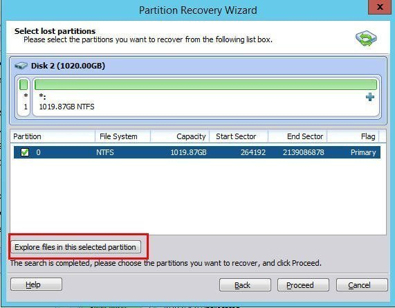 Select Lost Partition