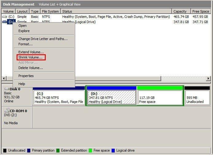 Shrink Logical Drive Disk Management