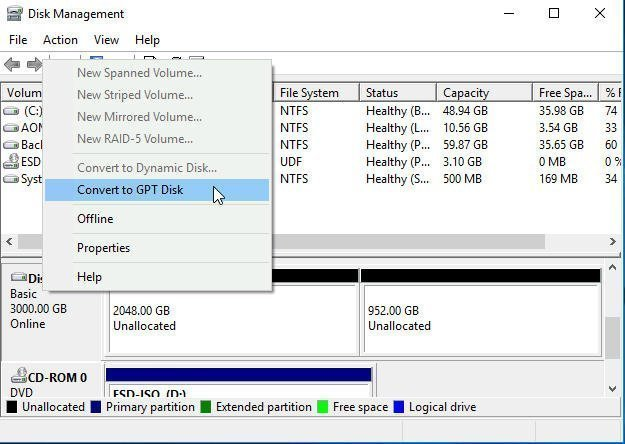 Disk Management Convert to GPT