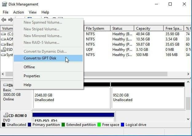 Disk Management Convert to GPT