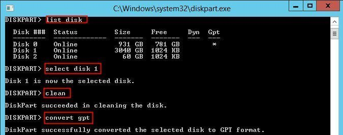Convert to GPT Diskpart