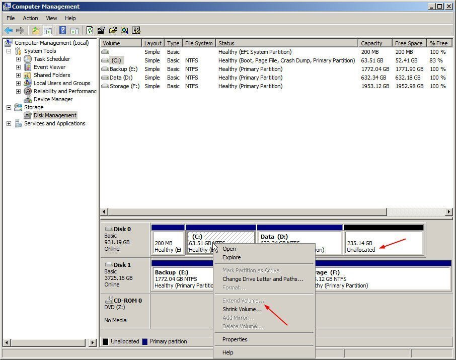 Solutions to Windows Server 2012 (R2) Extend Volume Greyed Out