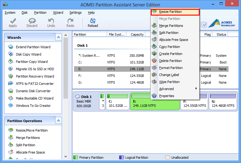 How to resize windows server 2012 partition with aomei for Window resize