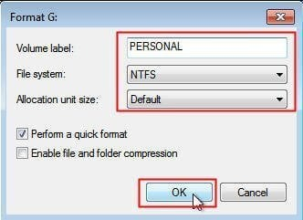 Format NTFS to FAT32