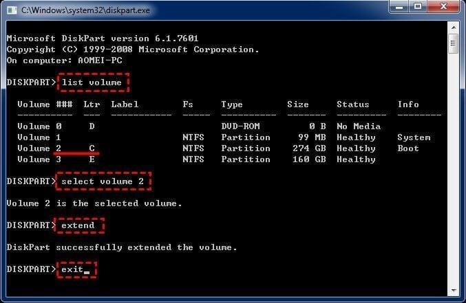 Diskpart Extend System Partition