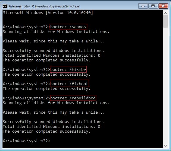 Bootrec Commands