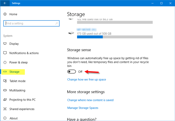 Storage Sense