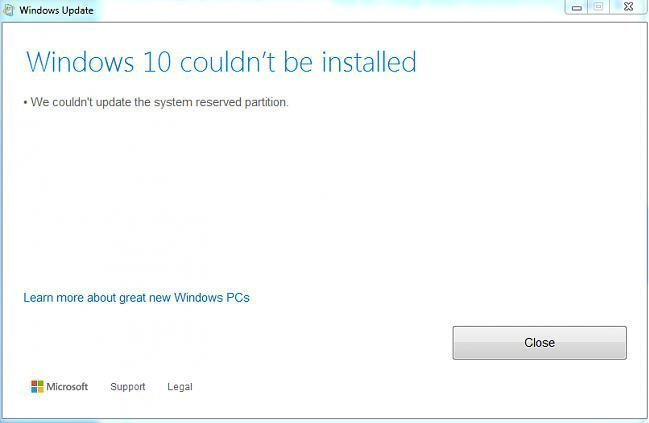 Couldnt Update System Reserved Partition