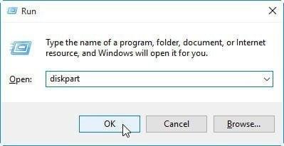 Open DiskPart Windows 10