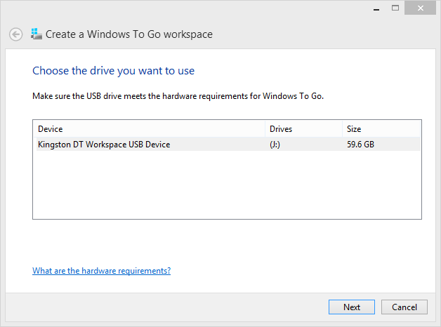 Create a Windows To Go Workspace Choose Drive