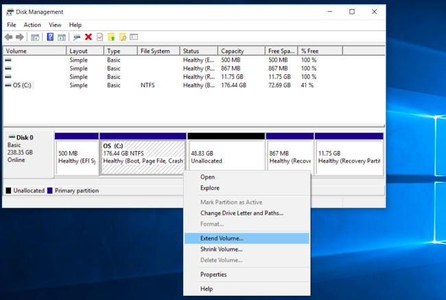 how to merge two partitions in windows 10