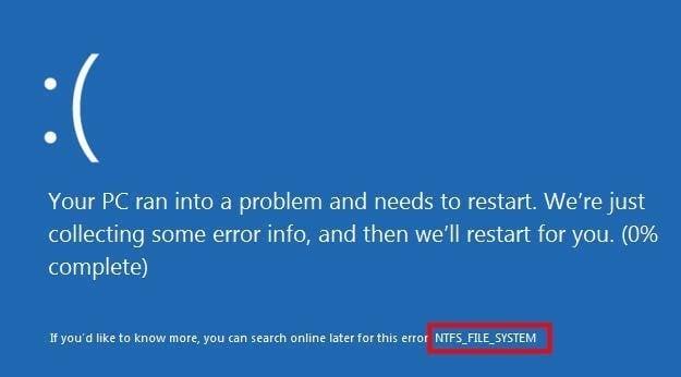 Errore di NTFS file system