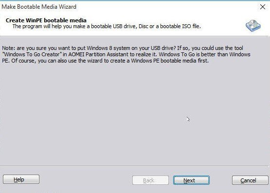 Make Bootable Media Notice