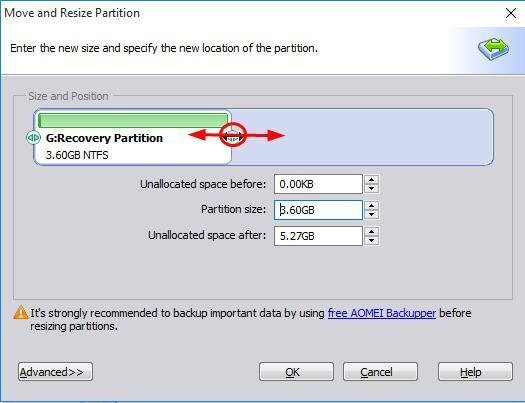 move recovery partition windows 8.1