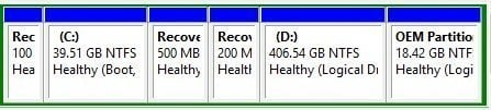 Recovery Partitions in Disk Management