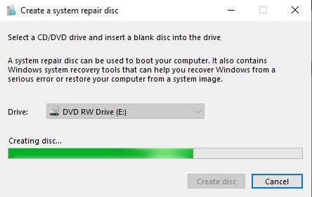 Create System Repair Disc
