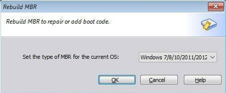 Set the Type of MBR for the Current OS