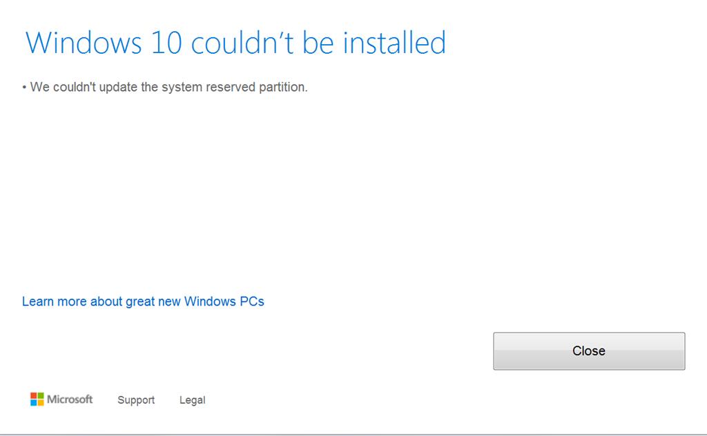 Failed Install