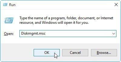 Open Disk Management from Run