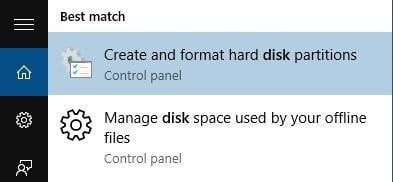 Search Disk Management