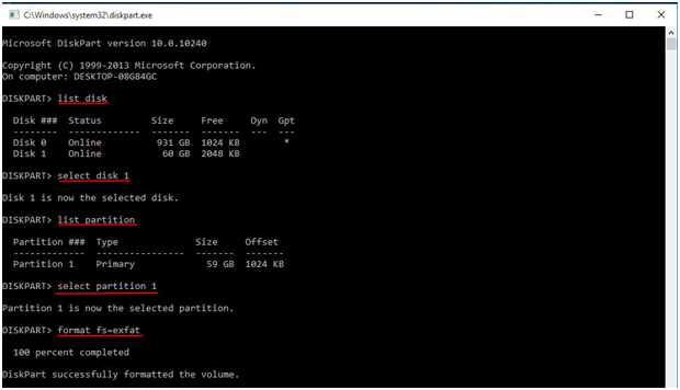 Format to exFAT Diskpart