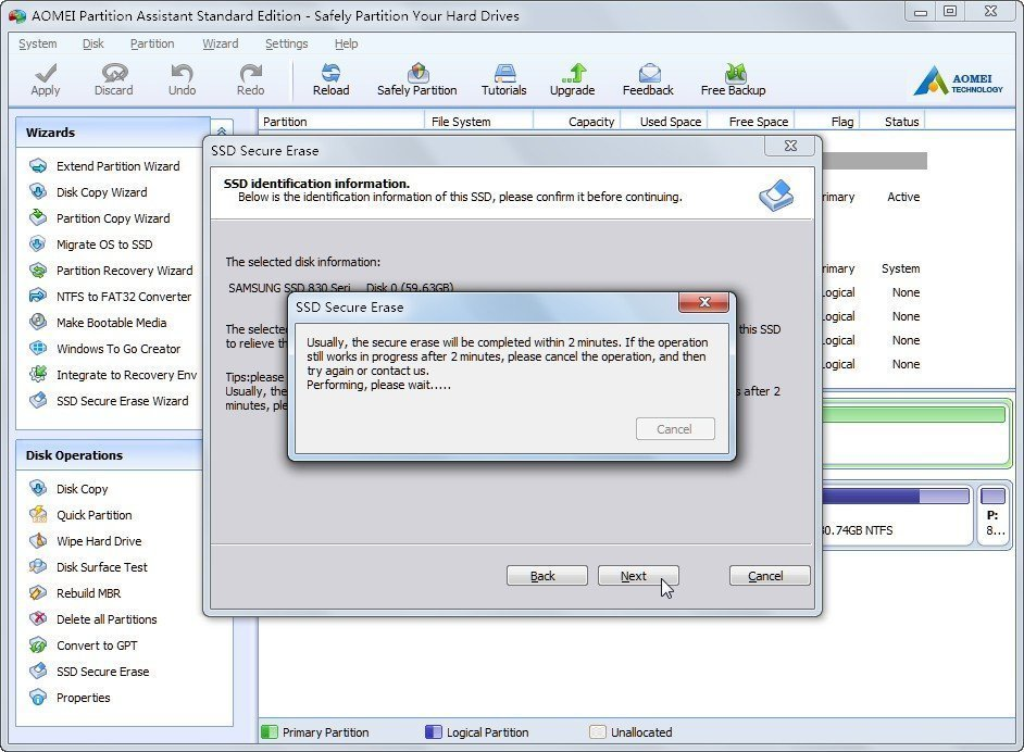 Erasing external SSD