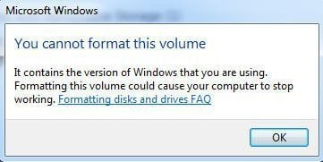 You Cannot Format This Volume