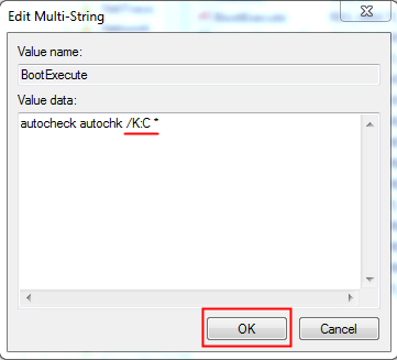 Disable Autocheck on C